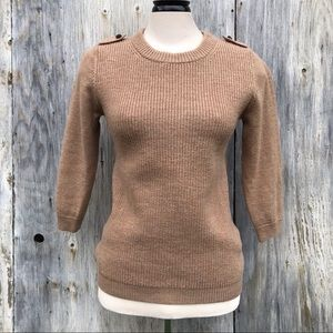J. Crew Camel Coloured Merino Wool Knit Sweater